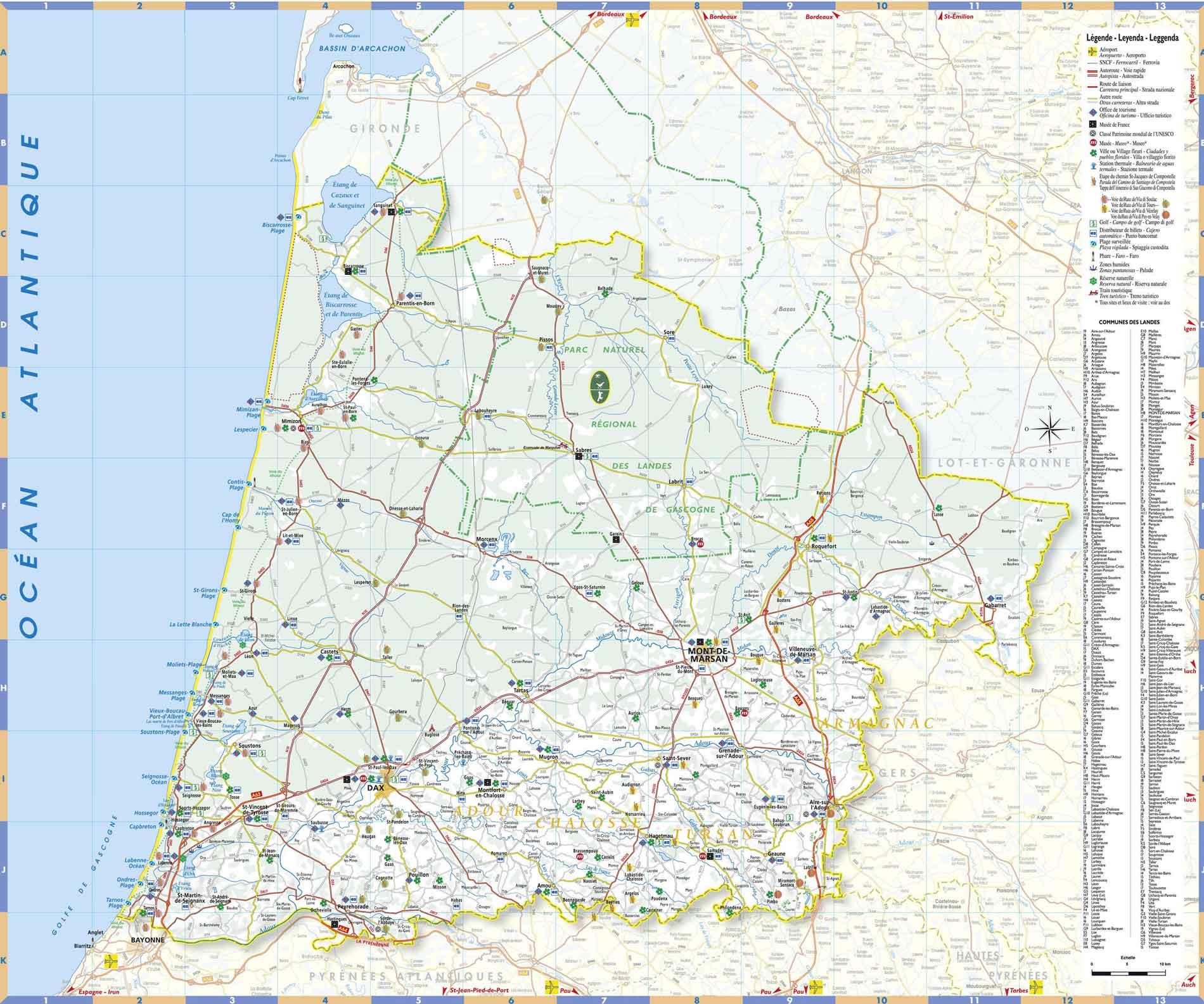 Carte des Landes : carte détaillée des landes, département 40, map